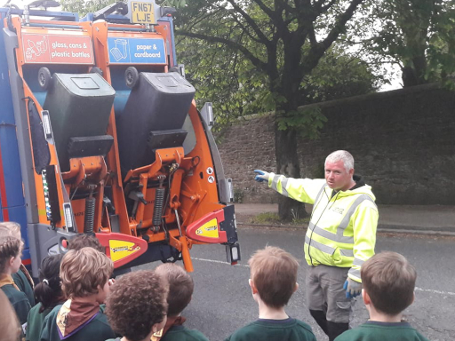Cubs learning about recycling.